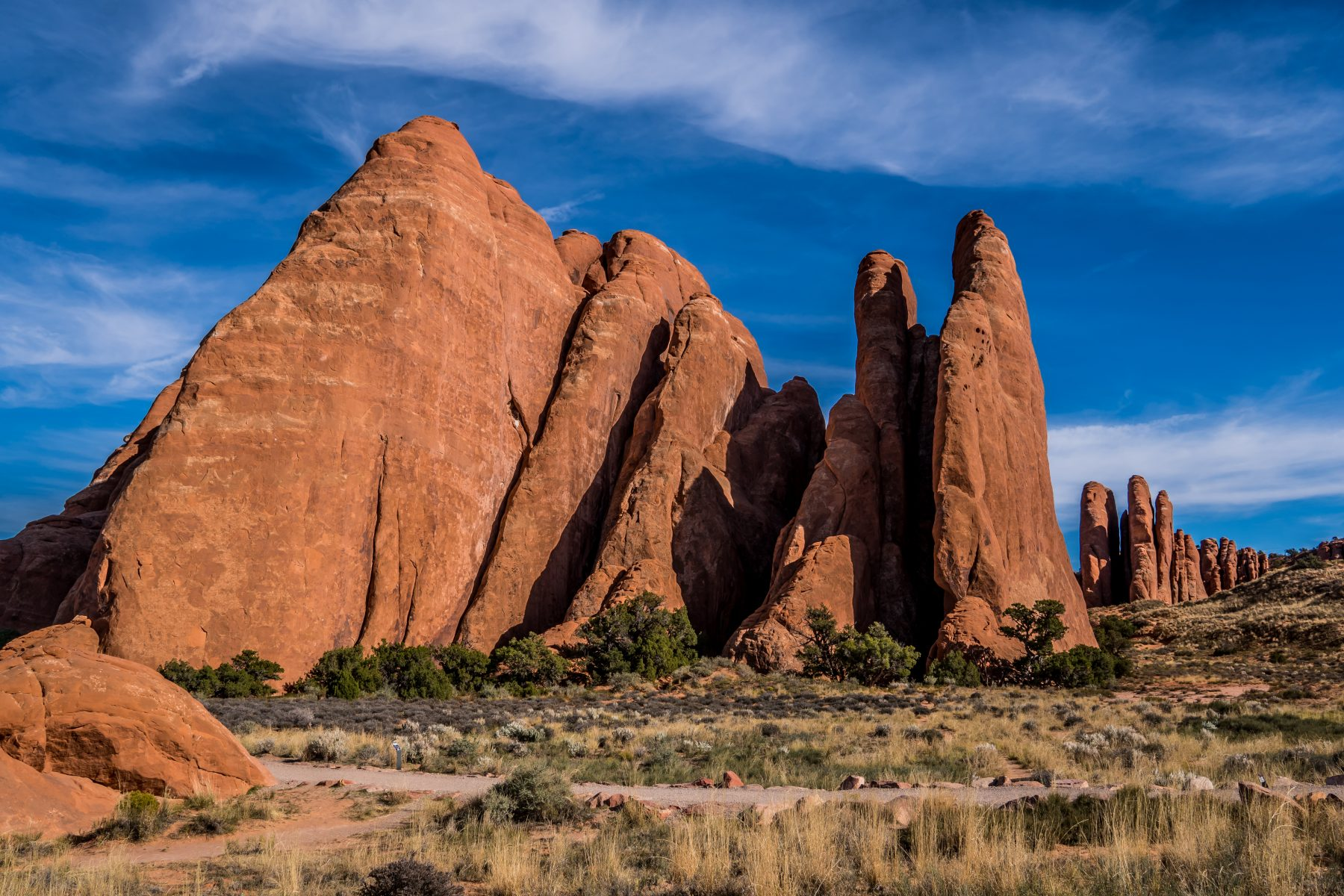 You hike between these massive sandstone fins to reach Sand Dune Arch. It's incredible!!
