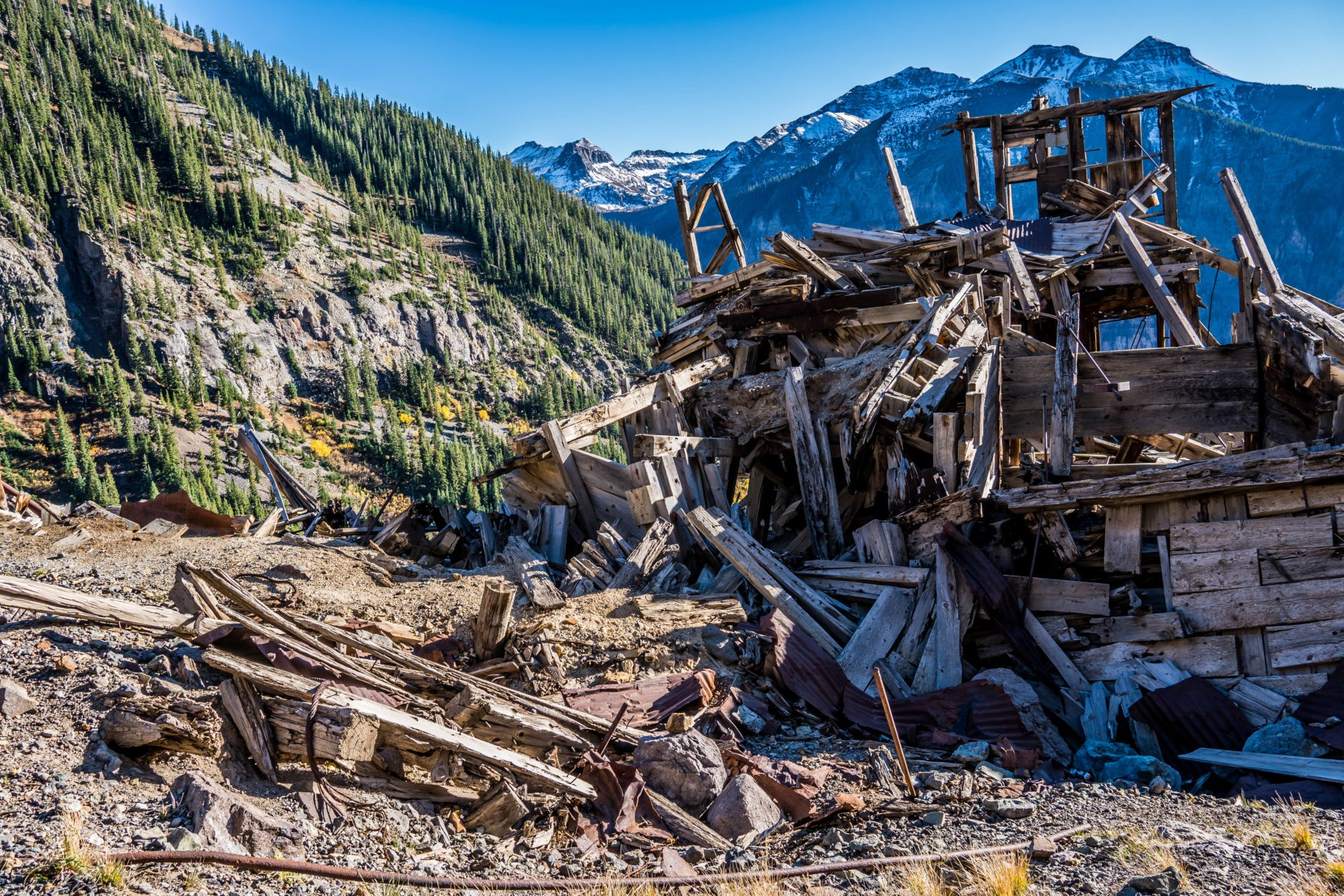 Remains of the Tomboy Smuggler-Union Mine Complex at the Bullion Tunnel on the north side of the Telluride Valley