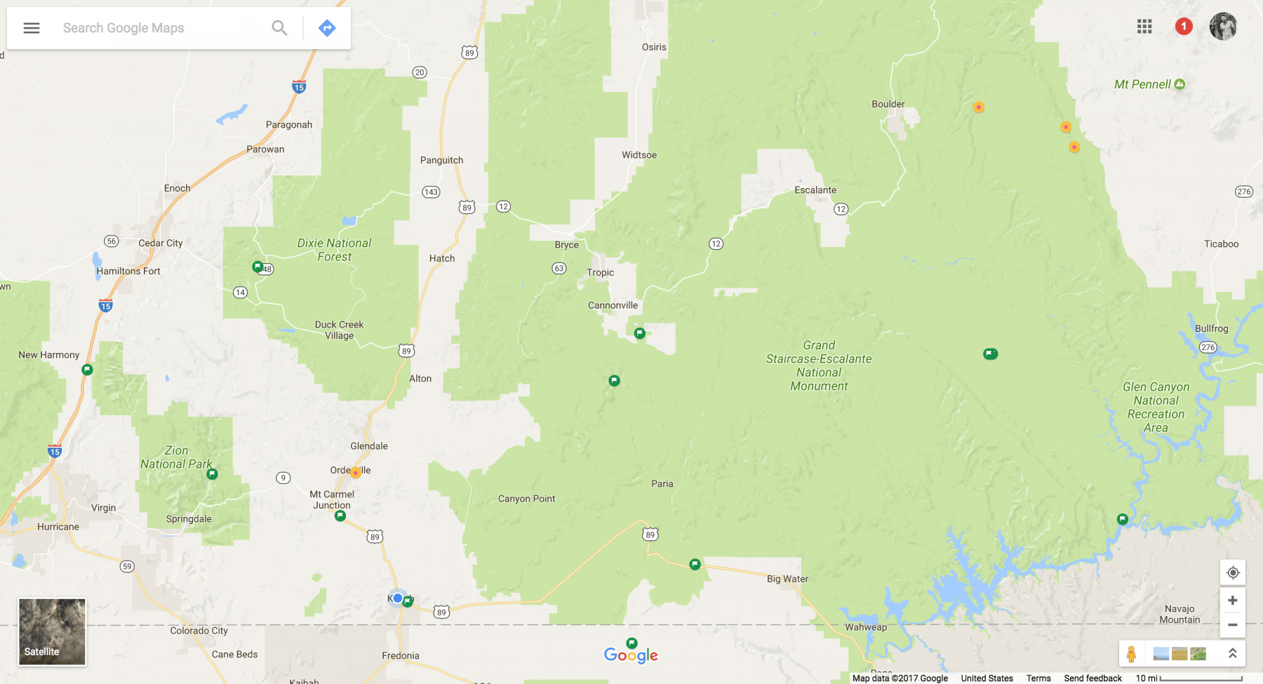 Using Google Maps to find free dispersed camping on federal land